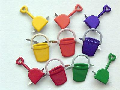 BRADS BUCKET / SPADE pk of 6 beach toy scrapbooking craft split pin
