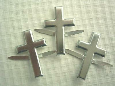 BRADS CROSS SILVER pk of 6 crosses wedding church split pin craft scrapbooking