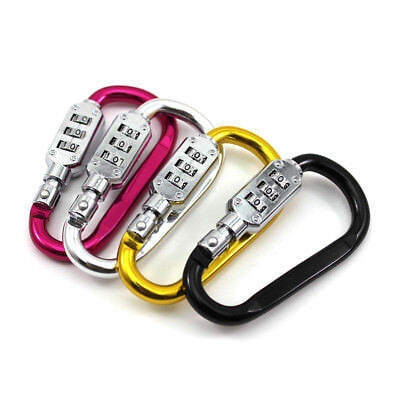 Luggage Security Carabiner D-Ring Clip Lock 3 Dial Password Alloy Padlock Buckle