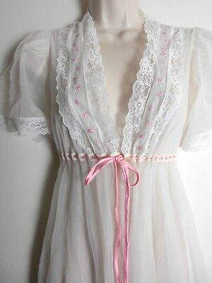 Vtg 50s 60s DREAMAWAY Sheer White PEIGNOIR Robe Pink Satin Drawstring Embroidery