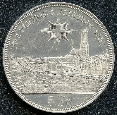 "Switzerland 1881 5 Franc "" Shooting Thaler "" Silver Coin (.835)"