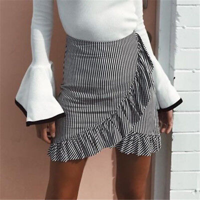 NEW Womens Ruffle High Waist Striped Knee Above Skirt Summer Casual Short Skirt