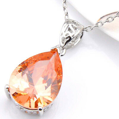 Handmade Genuine Honey Morganite Gemstone Silver Necklace Pendants with Chain