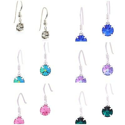 925 Sterling Silver Hook Earrings Made From Swarovski Crystal In various Colours