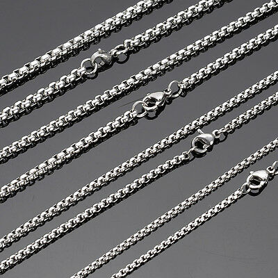 From  ! High Quality Silver Stainless Steel Box Chain Necklace  Hot Sell 2mm 22'