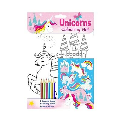 Children's Girls Unicorns Colouring Book Stickers & Pencils Colouring Activity