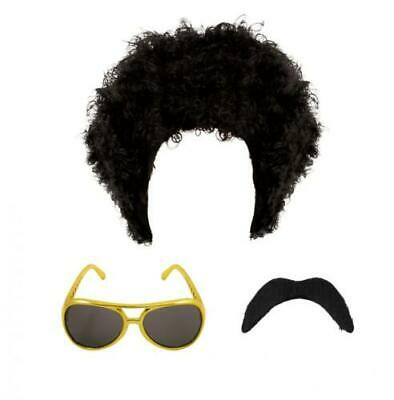 60s 70s MENS HIPPIE HIPPY AFRO CURLY WIG SUNGLASSES TASH 1970s FANCY DRESS NEW