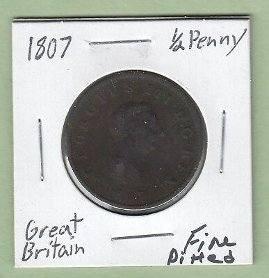 1807 Great Britain 1/2 Penny Coin - George III - Fine