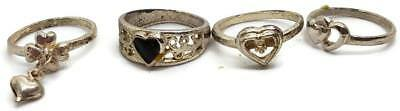 Vintage 4 Hearts Rings Lot Women Size 7 - Estate Silver-Colored Jewelry