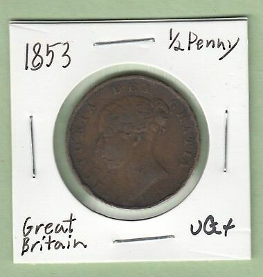 1853 Great Britain 1/2 Penny Coin - Queen Victoria- VG/Fine