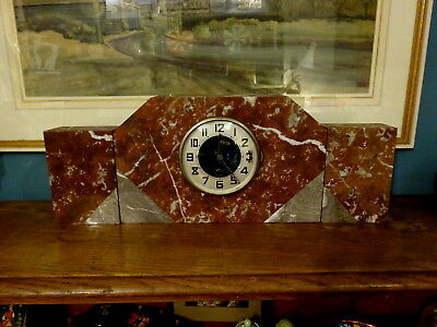 Antique Art Deco French Marble Clock Garniture Set