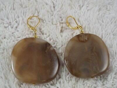 C63 Clear Acrylic Large Bead Pierced Earrings Unknown Period