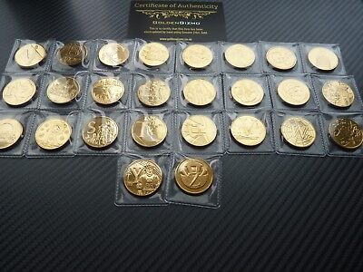 A - Z 10p Coins Set Full Uncirculated Early Strike 24K Gold Plated 10 pence