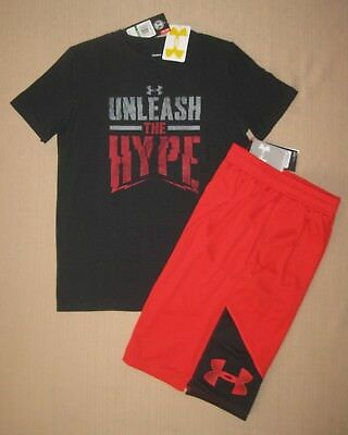 Nwt Under Armour Boys Black/red Tee/shorts Set Size L