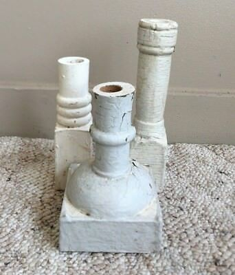 Three(3)1890's RECLAIMED Wood Candle Stands Crusty White Gray Balusters 182-18