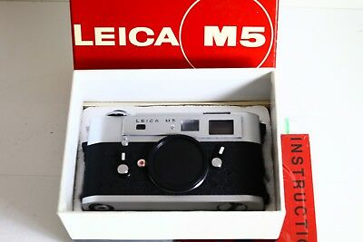 "Leica M5 Silver Chrome 3 Lug ""l"" Seal W/box Mint Mint Mint"