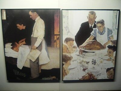 "FRAMED Complete set 4 Norman Rockwell FOUR FREEDOMS art prints 11"" x 8 1/2"" NICE"