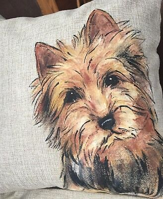 Australian Terrier Hand Painted Pillow Cover  Insert Not Included Artist Darci