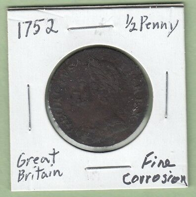 1752 Great Britain 1/2 Penny Coin - George II - Fine (Corrosion)