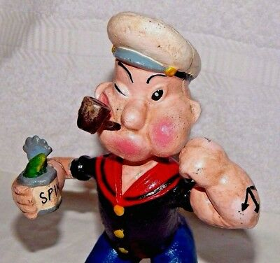 "POPEYE w SPINACH CAN & PIPE CAST IRON BANK FIGURINE 9"" Exc Heavy Door Stop"