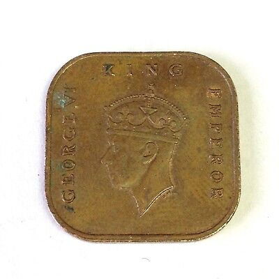 1943 British Malaya 1 Cent, George VI, square coin, red-brown AU+