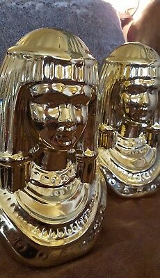 Vintage PAIR Hollywood Regency Egyptian Revival QUEEN CLEOPATRA Porcelain Busts