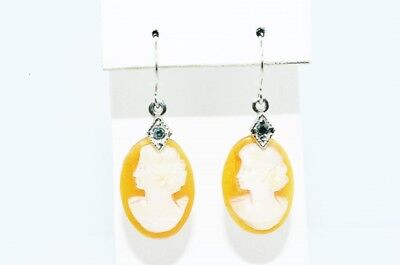 8.10Ct Hand Carved Cameo & Blue Diamond 2 Stone Dangle Earrings 14K White Gold