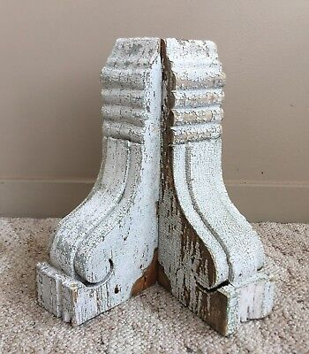 Antique Pair 1890's Wood Corbels Brackets Victorian Gingerbread White 186-18