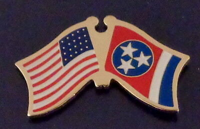 Tennessee State Flag & US Untied States Flags Crossed Lapel Pin USA TN