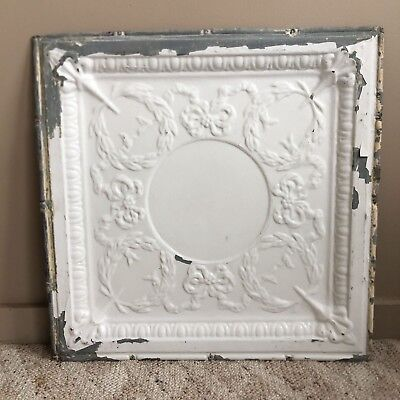 "1890's 24"" x 24"" Antique Reclaimed Tin Ceiling Tile White188-18 Anniversary"