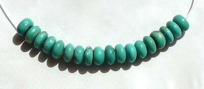 18 Beautiful 6mm Natural TURQUOISE Rondelle Gemstone Beads