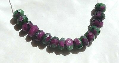 16 Beautiful 8mm Faceted Natural RUBY IN ZOISITE Rondelle Gemstone Beads
