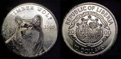 LIBERIA 2000 Silver 10 Dollars Timber Wolf Ch BU