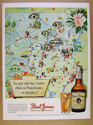 1950 Pennsylvania map cities landmarks art Paul Jones Whiskey vintage print Ad