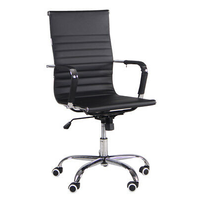 Executive Office PU Leather High-back Computer Desk Seat Swivel Task Chair Black