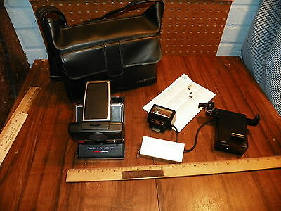 Vintage POLAROID SX-70 Land Camera SONAR ONESTEP w Accessories & Leather Case