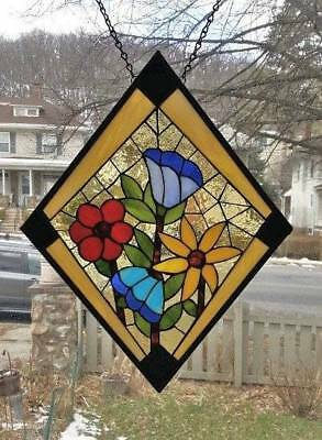**A BEAUTIFUL BOUQUET** Stained Glass Window Panel (Signed and Dated)