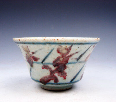 Antique Blue&White Ox-Blood Red Leaf Hand Painted LARGE Bowl Cup #08121706