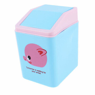 Office Desktop Plastic Cartoon Pig Pattern Mini Rubbish Bin w Swinging Door