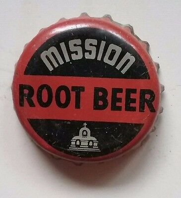 "Mission Root Beer Soda Bottle Crown Cap Cork Lined, ""W H S"" used"