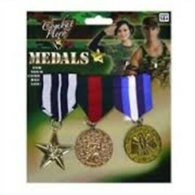 Pack Of 3 Plastic Military Medals - Fancy Dress Army Hero Soldier Armed Forces