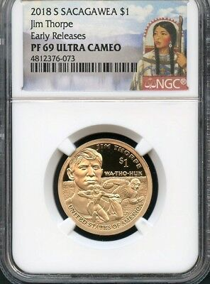 2018 S Sacagawea $1 Jim Thorpe Early Releases NGC PF69 Ultra Cameo (RED)