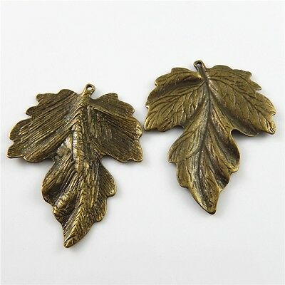Antiqued Bronze Alloy Big Leaves Shaped Charms Jewelry Making Pendants 5pcs/lot