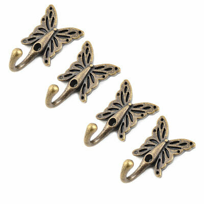 Home Metal Butterfly Vintage Design Wall Mounted Hanger Hook Bronze Tone 4 Pcs