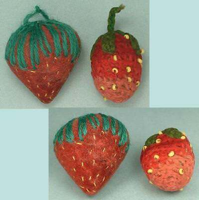 2 Antique Crocheted & Velvet Strawberry Emeries * Circa 1890s