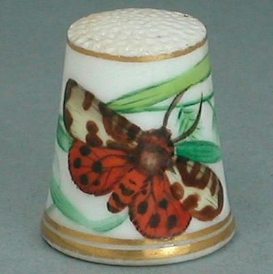 Antique Hand Painted Porcelain Worcester Butterfly Thimble * Circa 1870