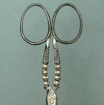 Antique Cut Steel Scissors w/ Gold Inlay * English * Circa 1850