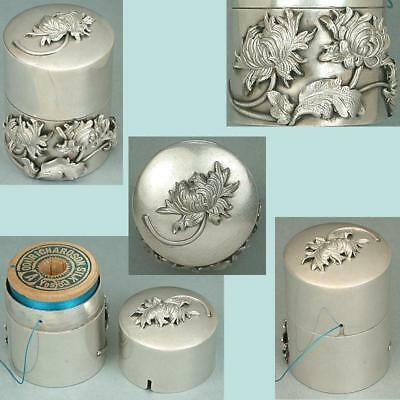 Gorgeous Antique Sterling Silver Chrysanthemum Spool Case * Circa 1890s