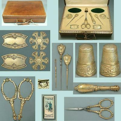 Fabulous Antique Leather Cased Gilded Silver Sewing Set * French * Circa 1900s