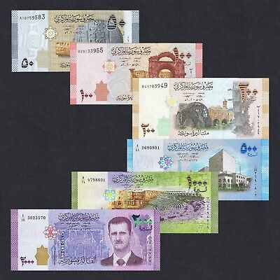 Set 2009-2017 Syria 50 100 200 500 1000 2000 Pounds P-112-117 Unc